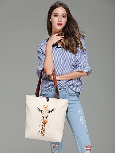 Handbag So'each Bag Canvas Animal Shoulder Graphic Women's Art Giraffe Tote w774HvRq