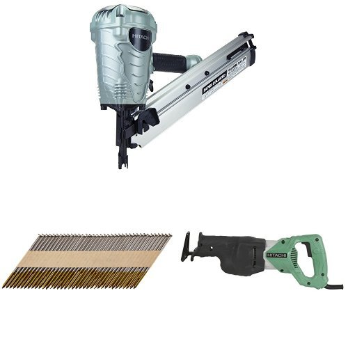 Hitachi NR90ADS1 2-Inch to 3-1/2-Inch Paper Collated Framing Nailer with Smooth Collated Nail (2,500 per box) and Reciprocating Saw with Variable Speed Trigger