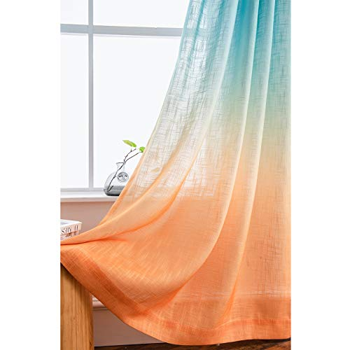 Melodieux Linen Textured Ombre Semi Sheer Curtains for Bedroom Living Room Kids Nursery Sunset Rod Pocket Gradient Drapes, Orange Green Teal Turquoise Mint, 52 x 63 Inch (2 Panels)