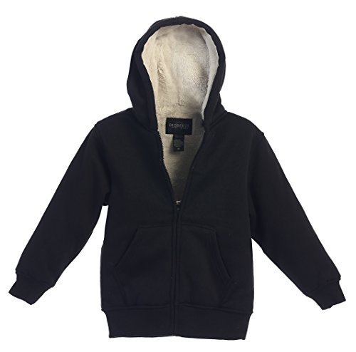 (Gioberti Boys Sherpa Lined Zip Up Fleece Hoodie Jacket, Black, Size 8)
