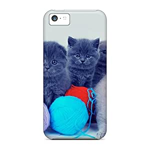 Durable Cases For The Iphone 5c- Eco-friendly Retail Packaging(kittens With Colorful Yarns)