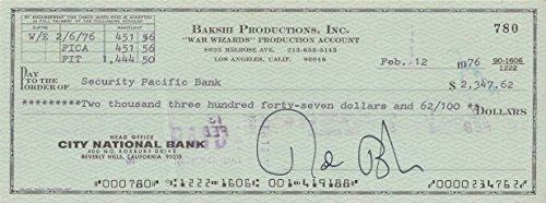 RALPH BAKSHI signed bank check