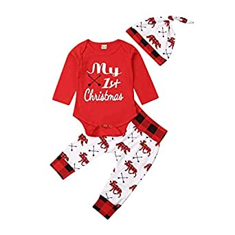 mettime Baby Newborn Boy Girl Halloween Costumes Romper & Pants Infant Outfits 0-24 Months Pajamas (My 1st Christmas, 9-12Months)