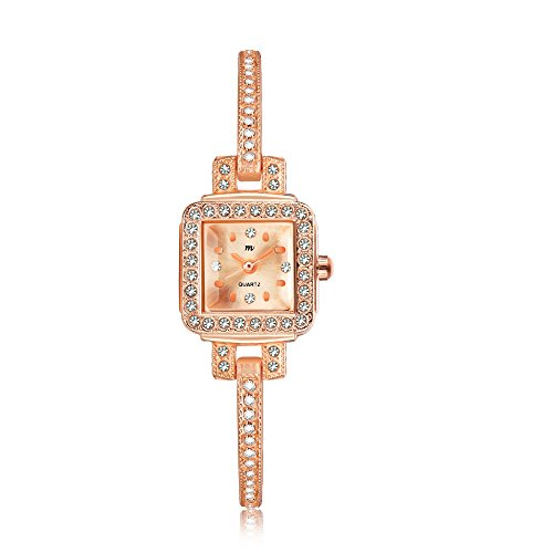 MW Women's 'Tiny Charm' Quartz Rose Gold Tone Casual Wrist Watch, Classic Square Case and Bracelet with Crystal, Retro Dress Watches for Women Ladies