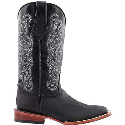 Ferrini Ladies Black Maverick Leather S-Toe Cowboy Boots