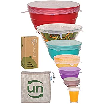 Unwasted Silicone Stretch Lids- Set Of 7 Incl. Exclusive XL Size- Reusable & Versatile Silicon Covers- Fits Any Container or Bowl To Keep Food Fresh- Store & Reheat- Easy Clean- Bonus Storage Bag