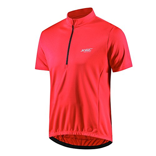 Men's Short Sleeve Cycling Jersey Bike Jerseys Cycle Biking Shirt with Quick Dry Breathable Fabric (Red, XXXXL)