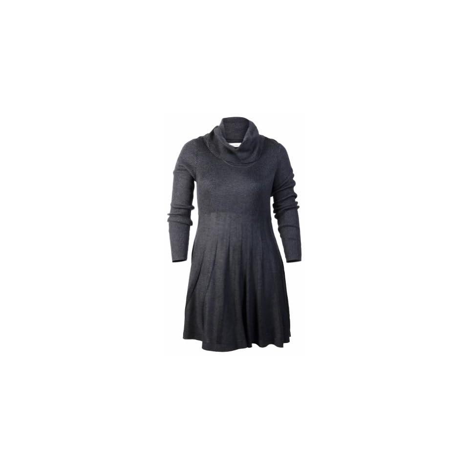 Calvin Klein Womens Pleated Skirt Sweater Dress Charcoal (Medium)