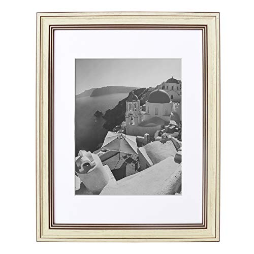 - Golden State Art 11x14 Photo Frame with White Mat for 8x10 Photos & Real Glass, 1.25-Inch Wide, Cream Color with Brown Trim
