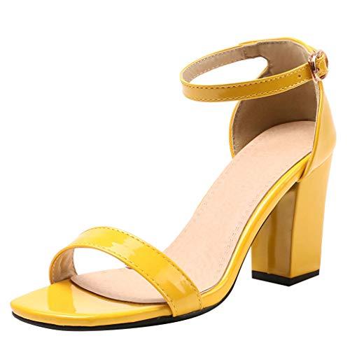 Womens Open Toe Ankle Strap Chunky Block High Heel Dress Party Pump Sandals Midress Women's Chunk Low Heel Pump Sandals