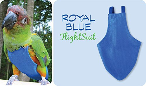 Caged Roll Cages - Avian Small FlightSuit (Bird Diaper) w/Lanyard plus Flightliners (Blue)