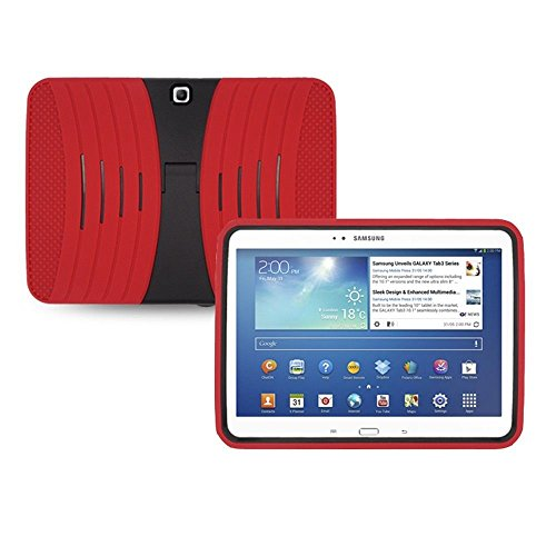 Rugged Impact Hybrid Case with Kickstand for Samsung Galaxy Tab 3 10.1-inch Tablet-Black[Thunder Wireless]TM