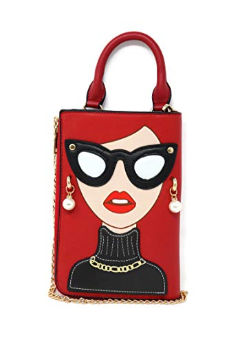 Boutique Purse Handbag - BOUTIQUES Clutch Purse Tote Bag Leather with Lady Face Funky Shoulder Bag for Women (red white glass)