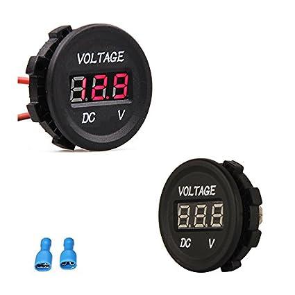 Cllena Waterproof LED Digital Display Voltmeter 12-24V DC for Car Motorcycle Boat Marine Truck Rv ATV Red LED