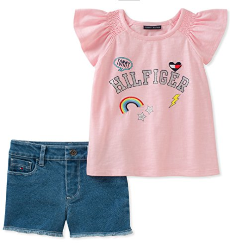 Tommy Hilfiger Girls' Little' Denim Shorts Set, Pink/Blue, 6X ()