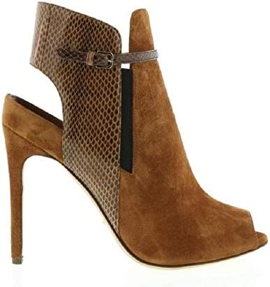 Sergio Rossi New Camel Suede//Camel Snake Open Heel Ankle Boot
