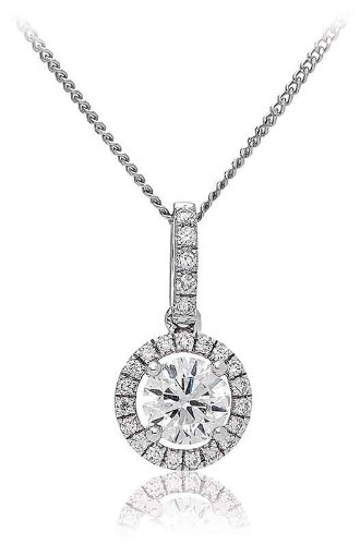 0.65CT Certified G/VS2 Round Brilliant Cut Claw Set Centre with Halo Diamond Pendant in 18K White Gold