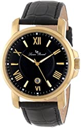 Lucien Piccard Men's LP-12358-YG-01 Cilindro Black Textured Dial Black Leather Watch