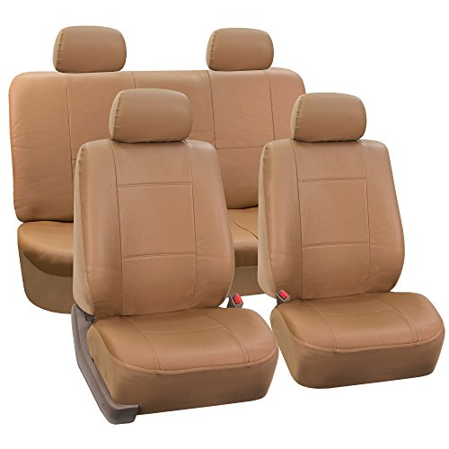 FH-PU002-1114 Classic Exquisite Leather Car Seat Covers, Airbag compatible and Split Bench, Solid Beige color Honda Accord Air Bag