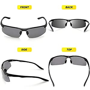 Torege Men's Sports Style Polarized Sunglasses For Cycling Running Fishing Driving Golf Unbreakable Al-Mg Metal Frame Glasses M291