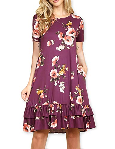 AOOKSMERY Elegant Women Floral Ruffled Hem Pocket Short 3/4 Long Sleeve A-Line Knee-Length Tunic Dress ()