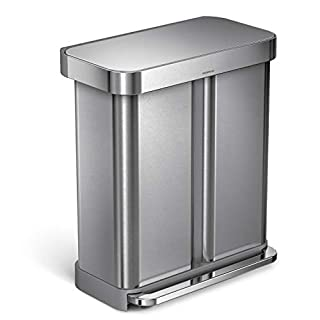 simplehuman 58 Liter / 15.3 Gallon Stainless Steel Rectangular Kitchen Step Can Dual Compartment Recycler, Brushed Stainless Steel (B00VXULPTQ)   Amazon Products