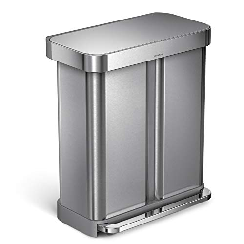 simplehuman 58 Liter / 15.3 Gallon Stainless Steel Rectangular Kitchen Step Can Dual Compartment Recycler, Brushed Stainless Steel (Things Made From Waste Material At Home)