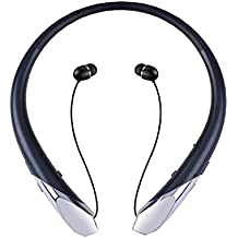 Bluetooth Headset, Wireless Headphones Retractable Stereo Neckband Earbuds with Mic by ZSW Tech (12 Hours Play Time, Noise Canceling, Black)