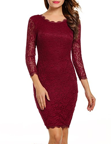 ACEVOG Women Ladies Package Hip Knee Length Floral Lace Pencil Party Dress (Small, Wine Red)