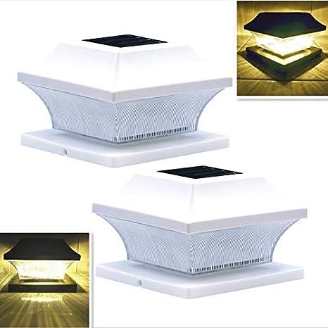 Solar Post Cap Lights Outdoor Vinyl White Lantern for 4x4