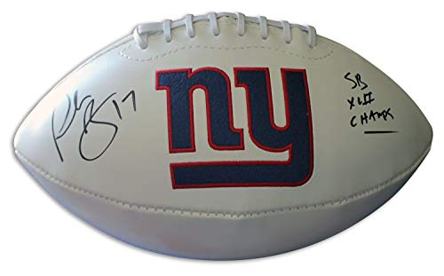 Plaxico Burress New York Giants Autographed White Panel Team Logo Football Inscribed SB XLII Champs - Certified Authentic Signature