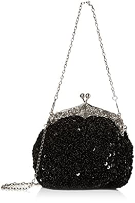 Chicastic Fully Sequined Mesh Beaded Antique Style Formal Cocktail Clutch- Black