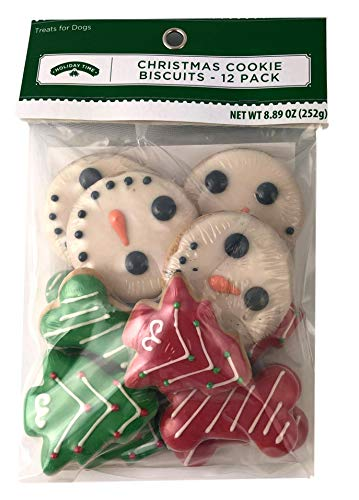 Holiday Dog Cookie Biscuits Snowman 12pc Xmas Large Small Pet