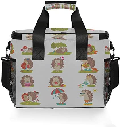 Lunchbag Bag Adorable Cute Hedgehogs With Apple Cool Lunchbag Womens Lunch Tote Bag con tracolla regolabile per campeggio Picnic Lunch Bbq Beach