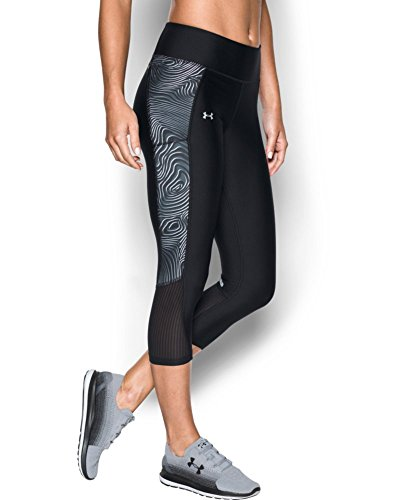 Under Armour Women's Fly-By Printed Capri, Black/Reflective, X-Large