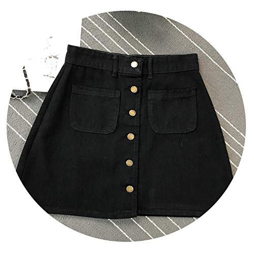 Zombie Jessica 2019 Womens A-line Jeans Short Skirt Button High Waist Denim Pockets Skirt Harajuku Mini Skirts,Black,M