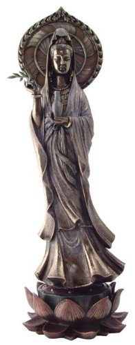 TLT 17.5 Quan Yin Avalokiteshvara on Lotus Kuan Statue Guan Eastern Deity Kwan