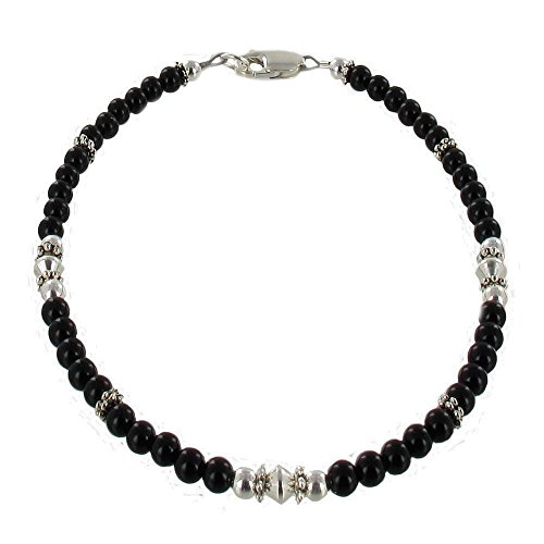 Womens-Black-Onyx-Sterling-Silver-Ladies-Beaded-Gemstone-Anklet-with-Daisies
