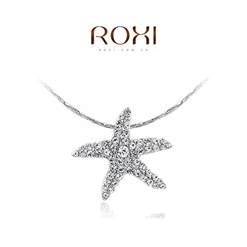 Bling Beauty Jewellry White Gold Plated Austrian Crystal Starfish Pendant Necklace Fashion (Starfish Austrian Crystal)