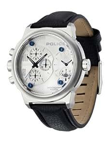 Police Viper - Reloj cronógrafo de caballero de cuarzo con correa de piel negra (cronómetro) - sumergible a 100 metros