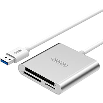 UNITEK Superspeed Aluminum USB 3.0 Multi-in-1 Card Reader for CF/SD/TF Micro SD/SD/MD/MMC/SDHC/SDXC for MacBook Pro Air, iMac, Mac Mini, Microsoft Surface Pro, Lenovo Yoga PC