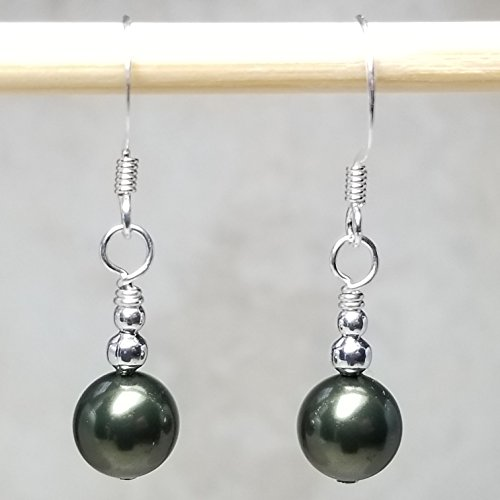 Swarovski Green Earring - Silver Plated Dangle Earrings Made with Swarovski® Simulated Pearls, Dark Green