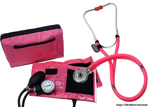 EMI ALL PINK SET Sprague Rappaport Stethoscope and Aneroid Sphygmomanometer Manual Pressure Set with Adult Cuff Kit - #330