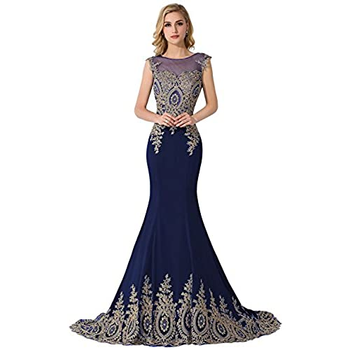 MisShow Embroidery Lace Long Mermaid Formal Evening Prom Dresses,Navy,Size 16