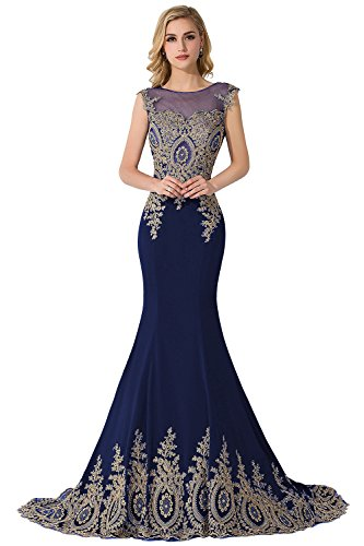 MisShow Embroidery Lace Long Mermaid Formal Evening Prom Dresses,Navy,Size 14