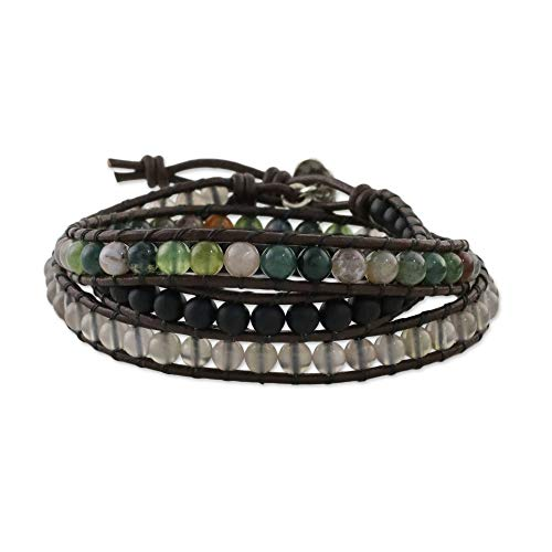 NOVICA Multi-Gem Chalcedony .950 Sterling Silver Leather Beaded Bracelet, 20.5