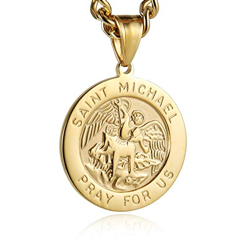 (HZMAN St. Michael San Miguel The Great Protector Archangel Defeating Satan Stainless Steel Pendant Necklace (Gold))