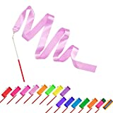 16 pcs Kids Rhythmic Dance Ribbons Gym Ribbons Streamers Dancing Streamers, Rotating Baton, for Kids Artistic Dancing, 16 colors
