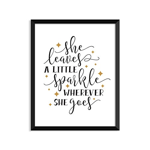 She Leaves A Little Sparkle Wherever She Goes, Inspiration Quote, Funny, Adult, Minimalist Poster, Home Decor, College Dorm Room Decorations, Wall Art -
