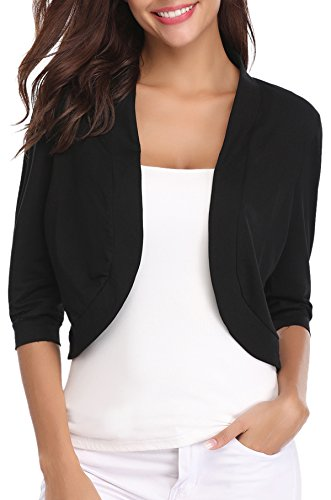 Womens Shrug - iClosam Women Open Front Cardigan 3/4 Sleeve Cropped Bolero Shrug